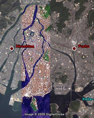 Google Earth原爆ドーム周辺